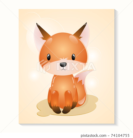 Fox lovely Together, Cute Best Friends, Adorable Rabbit, and pup Cartoon Characters  74104755