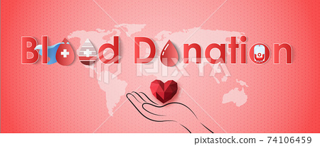 Blood donation design. Creative donor poster. Blood Donor banner. Red drop. Donation volunteer. Blood donation medical poster. Save human life concept. Vector illustration	 74106459