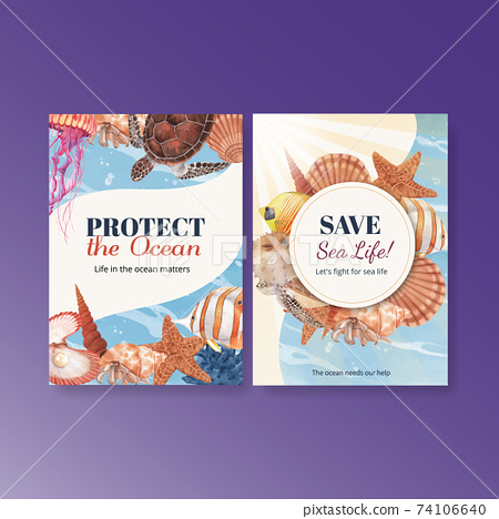 Thank you card with sea life concept design watercolor vector illustration 74106640