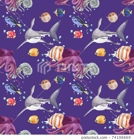 Pattern with sea life concept design watercolor vector illustration 74106669