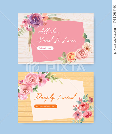 Facebook template with love blooming concept design for social media and online community watercolor vector illustration 74106746