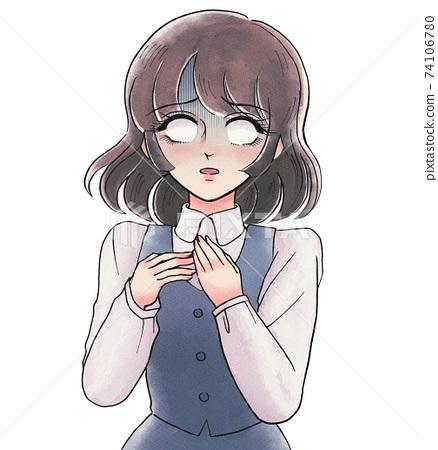 復古女孩卡通風格,姐姐驚訝於白眼睛脫皮 74106780