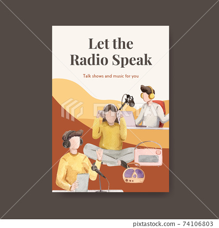 Poster template with world radio day concept design for advertise and business watercolor vector illustration 74106803
