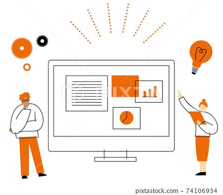 商人討論計算機前的想法的男人和女人的插圖 74106934
