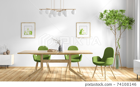 Interior design of modern dining room, wooden table and green chairs 3d rendering 74108146