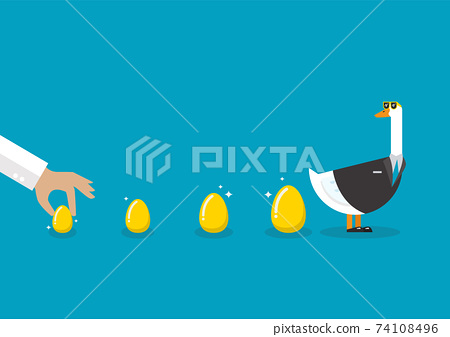 Goose wearing business suit with golden eggs 74108496