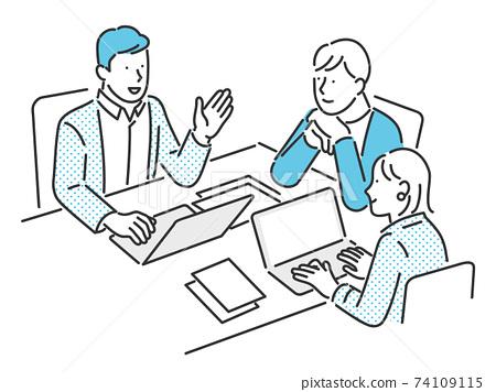開會的商務人士的圖像插圖素材 74109115