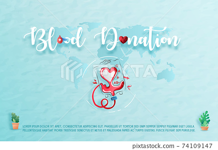 Blood donation design. Creative donor poster. Blood Donor banner. Red drop. Donation volunteer. Blood donation medical poster. Save human life concept. Vector illustration 74109147