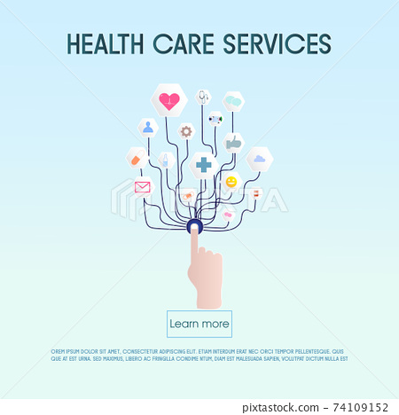 Concept of health or telemedicine, a graphic of health care application on a device, hospital concept. 74109152