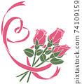 簡單的粉紅心形絲帶和玫瑰 74109159