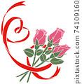 簡單的紅色心形絲帶和玫瑰 74109160