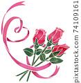 粉紅心形絲帶和玫瑰(水彩風格) 74109161