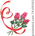 紅色的心形絲帶和玫瑰(水彩風格) 74109162