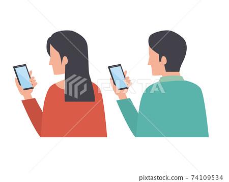 智能手機操作男女 74109534