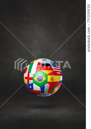 Football soccer ball with national flags on a black studio background 74109916