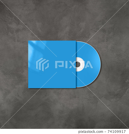 Blue CD - DVD mockup template isolated on concrete background 74109917