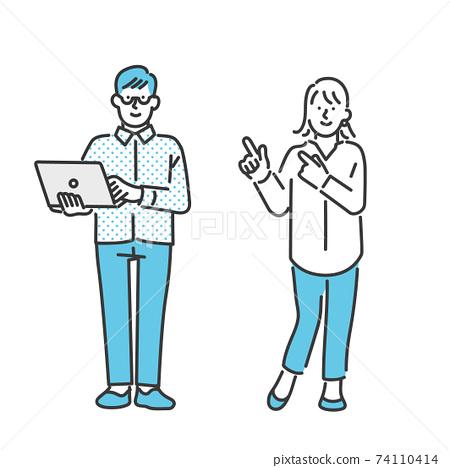 男人和女人解釋某些東西的圖像插圖材料 74110414