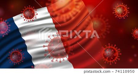 法國國旗和冠狀病毒 74110950