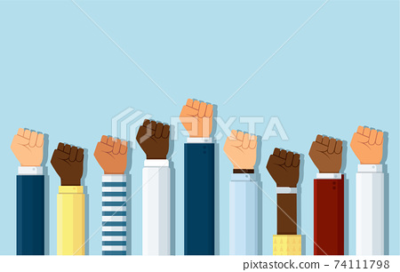 Group of fists raised in air. Group of protestors fists raised up in the air vector illustration 74111798