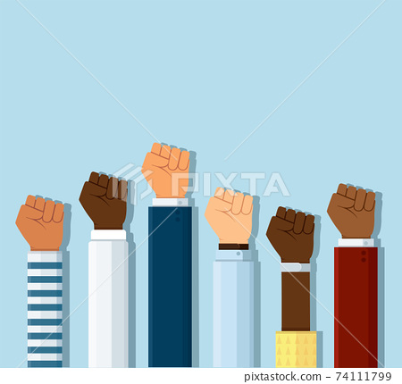 Group of fists raised in air. Group of protestors fists raised up in the air vector illustration 74111799