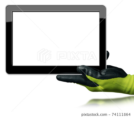 Hand with Work Glove Holding a Digital Tablet Isolated on White Background 74111864