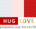 Variation of mini heart surface pattern design white, blue, pastel pink and red on various color background Sweet Love Valentine's day 74114179