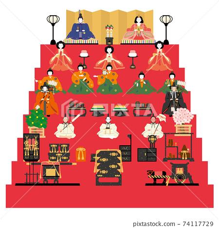 Hinamatsuri Hina娃娃7層裝飾 74117729