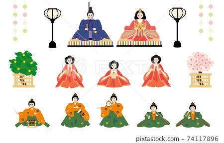 Hinamatsuri Hina娃娃流行口味套裝(內背,小雞,三名正式女士,五名音樂伴奏) 74117896