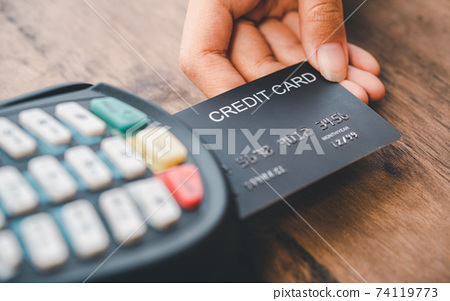 Paying by credit card , buying and selling products using a credit card swipe machine 74119773