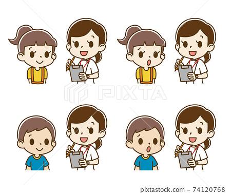 女護士採訪的兒童套裝(微笑/焦慮的臉) 74120768