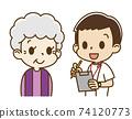 남성 간호사로부터 문진을받는 노인 여성 (웃음) 74120773