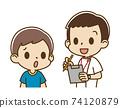 男護士採訪的男孩(焦慮的臉) 74120879
