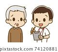 一名男護士採訪的老人(焦慮的臉) 74120881