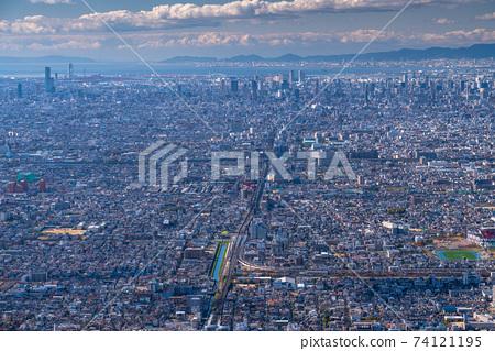 """오사카""오사카 도시 풍경 · 전경 74121195"