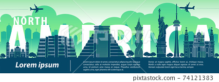 north america famous landmark silhouette style,text within,travel and tourism,vector illustration 74121383