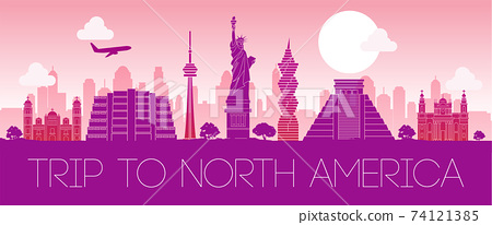 famous landmark of North america,silhouette design pink color,vector illustration 74121385