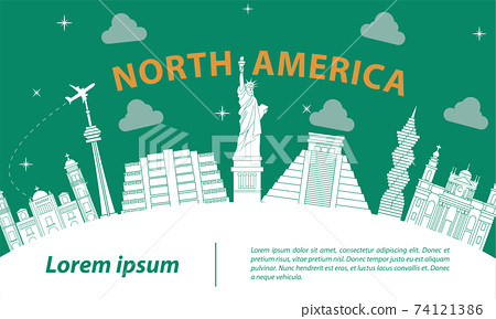north america famous landmark silhouette style on white curve,trip and tourism,vector illustration 74121386