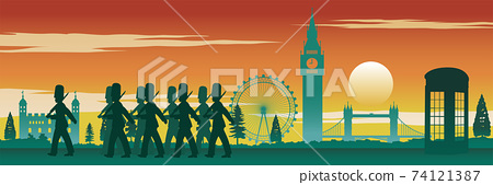English soldier,red telephone box,Big Ben and famous land mark of England on sunset time,silhouette design,vector illustration  74121387