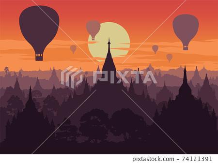 tourist take photo of famous pagoda,landmark of Myanmar on sunset time,vintage color style,vector illustration 74121391