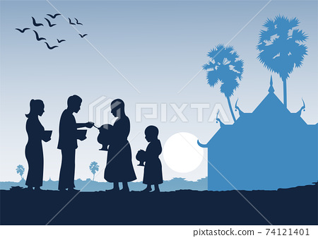 couple buddhist give food offering to a monk or ask as a favour receive food or ask for alms,routine of monk,vector illustration 74121401
