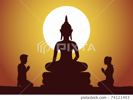 Buddhist woman and man pay respect to Buddha sculpture politely with faith and believe,silhouette style vector illustration 74121403