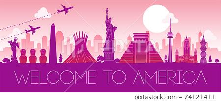 famous landmark of North america,silhouette design pink color,vector illustration 74121411
