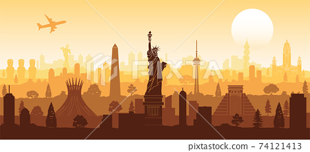 america famous landmark silhouette style with row design on sunset time,vector illustration 74121413