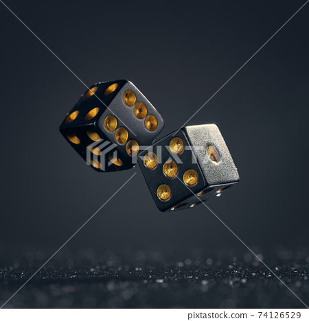 Two black dice are falling on a dark gray background. 74126529