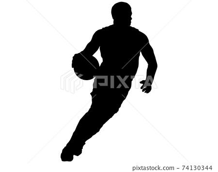 籃球運動員打rible_3的剪影 74130344