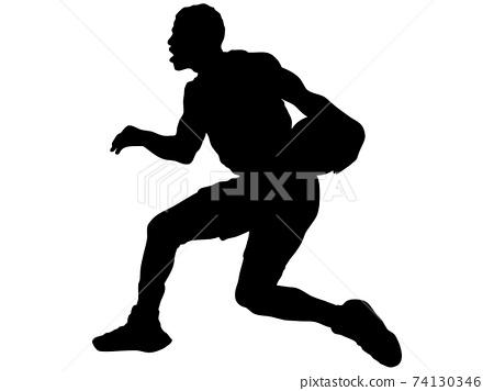 運球的籃球運動員的身影 74130346