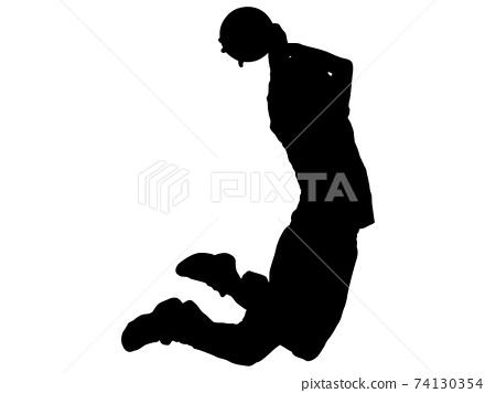 做扣籃的籃球運動員的輪廓_2 74130354