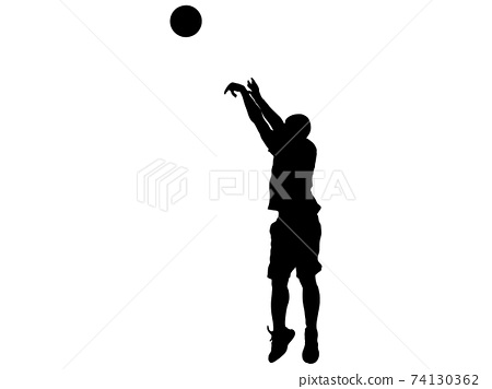 籃球運動員打三分球的剪影_2 74130362