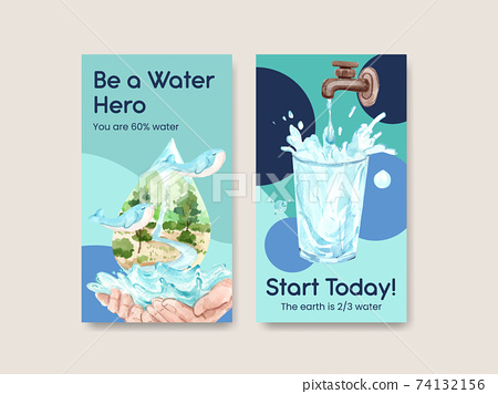 Instagram template with world water day concept design for social media watercolor vector illustration 74132156