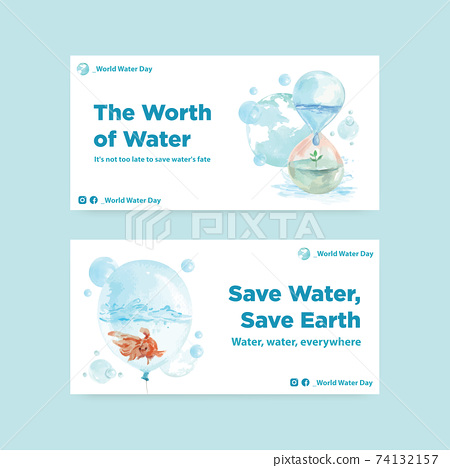 Twister template with world water day concept design for social media and community watercolor vector illustration 74132157